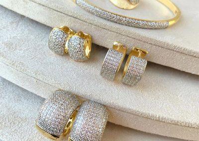 conjunto ouro ramos folheados